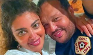 ريهام حجاج وزوجها يتبادلان الرسائل الرومانسية احتفالاً بعيد ميلادها