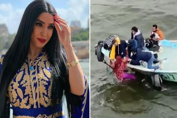 """متداول : شاهد .. لحظة إنقاذ الفنانة المصرية """"روجينا"""" من الغرق في النيل"""