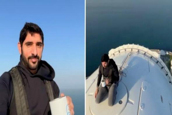 شاهد: ولي عهد دبي يقوم بمغامرة خطيرة من على ارتفاع 250 مترا